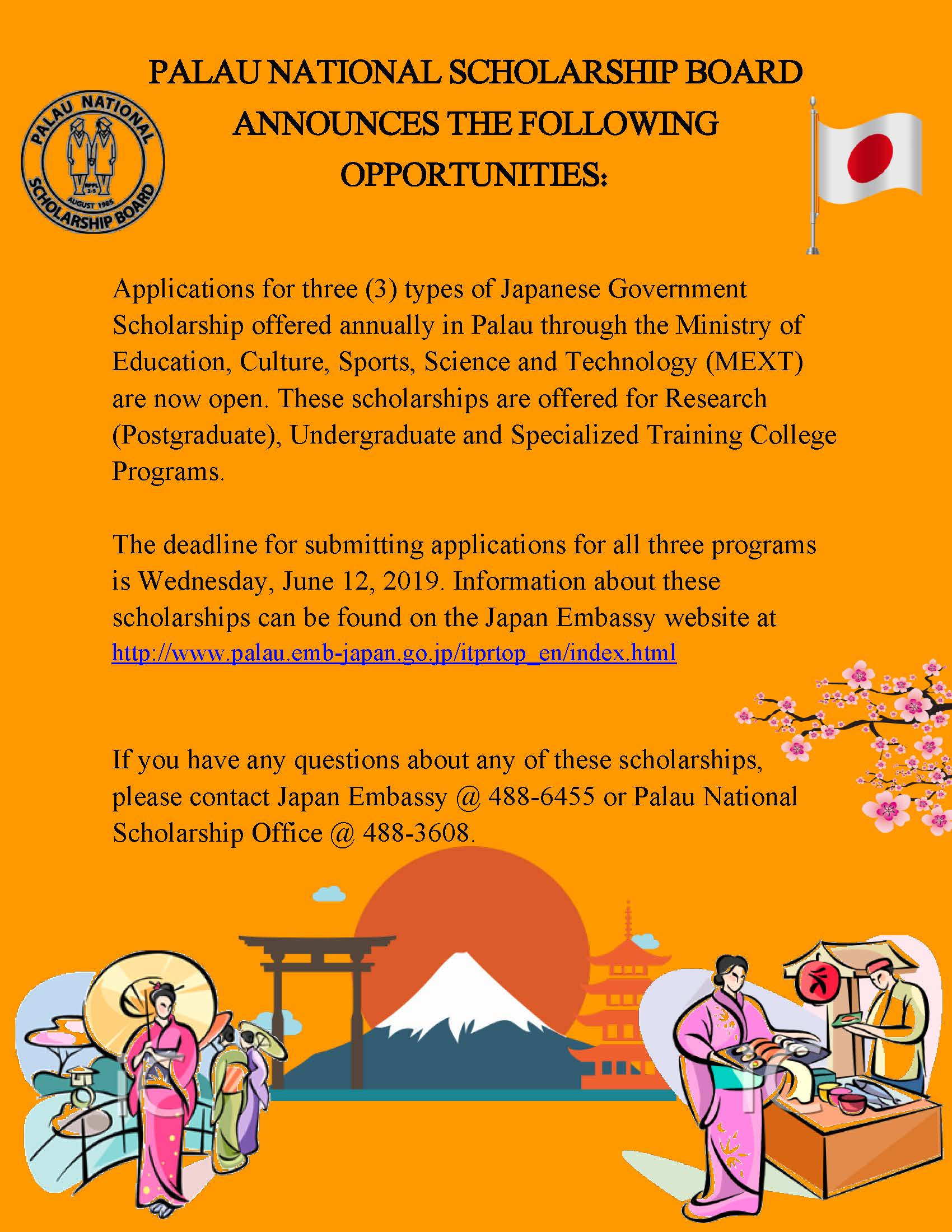 Japan Government Scholarships Available! – Palau National